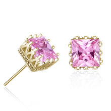Zircon 6MM earrings couple fashion hollow square zircon crystal gift jewelry