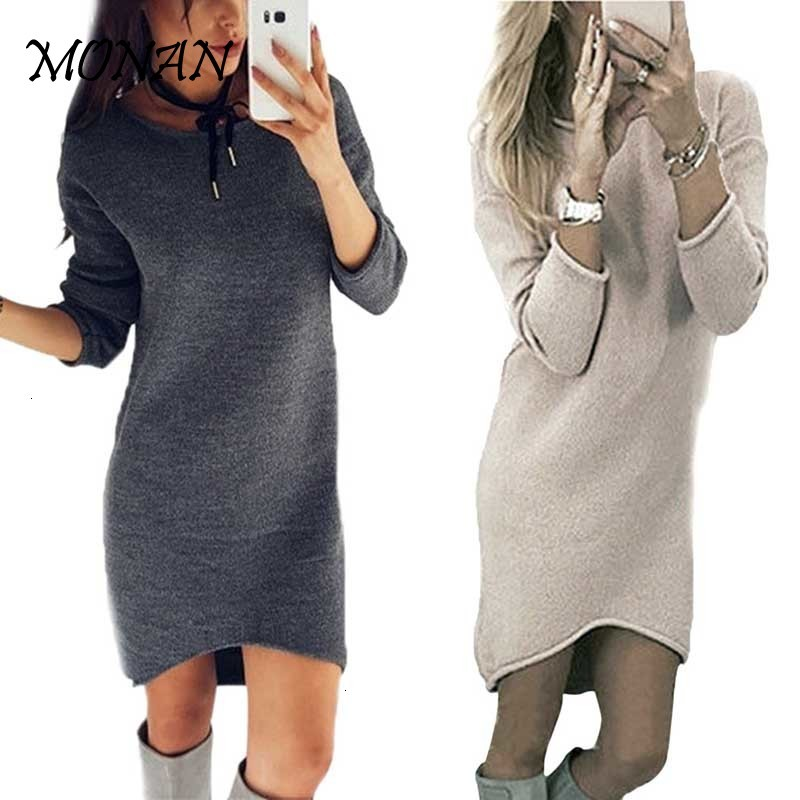 2019 Autumn Winter Dress Women O Neck Long Sleeve Solid Color Ladies Loose Casual Women Dress Lady Bodycon Robe Dresses Autumn