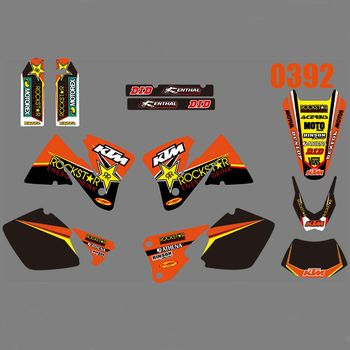 Full Graphics Decals Stickers Kit Custom Number Name Glossy Stickers for KTM 125 200 250 300 350 400 450 525 EXC 2001 2002