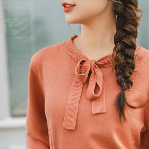Image 4 - INMAN 2020 Spring New Arrival Literary Lace collar Puff Sleeve Knit Pullover Sweater