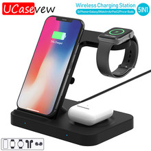 3in1 10W Wireless Charging Station Dock for iPhone 11 X XS Max XR Airpods Pro Watch 5 4 3 Wireless Charger Stand for Galaxy Buds(China)