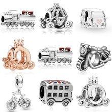 Carro & trem & motocicleta pingente encantos pulseira caber original pandora pulseira colar acessórios moda grânulo jóias presente