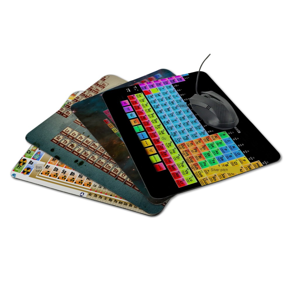 New Arrival Chemical Element Periodic Table Small Rectangular Mouse Pad Lock Edge Creative Learning Non-slip Mat Chemistry