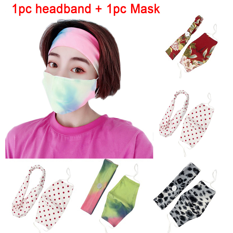 2Pcs/Set   Elastic Hair Bands Outdoor Sports Headband With Button Face Mask Protection Ear Pain