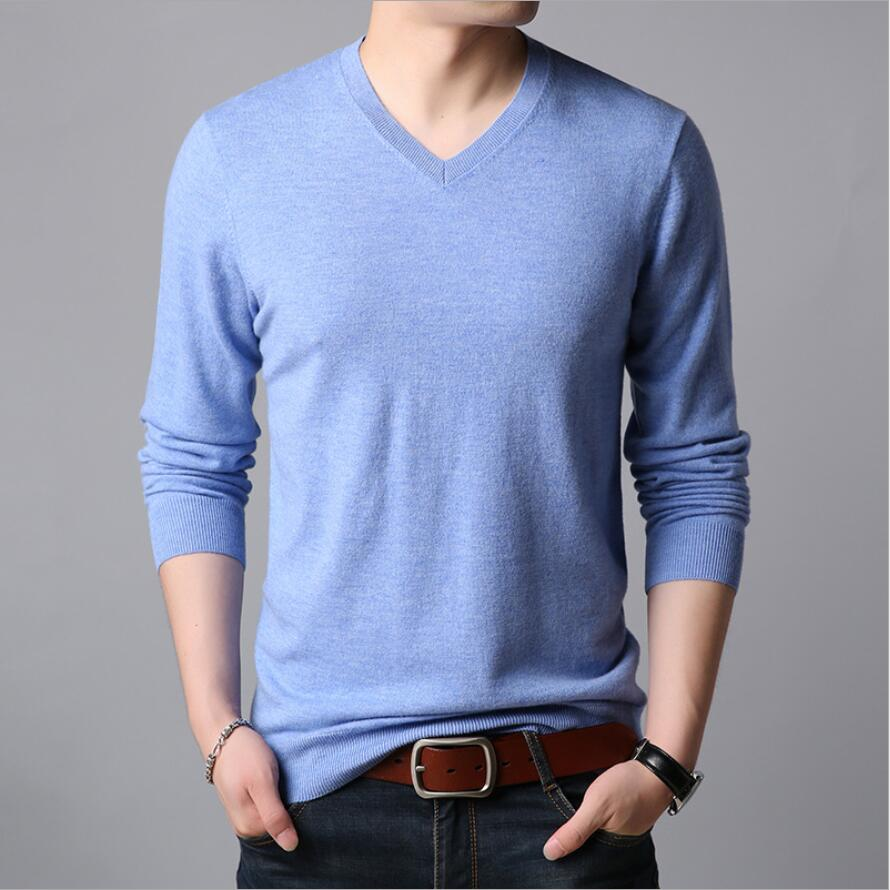 ZNG Simple Casual Pullover High Quality Pure Cotton Long Sleeve Slim Fit Mens Sweater Fashion Men Sweaters