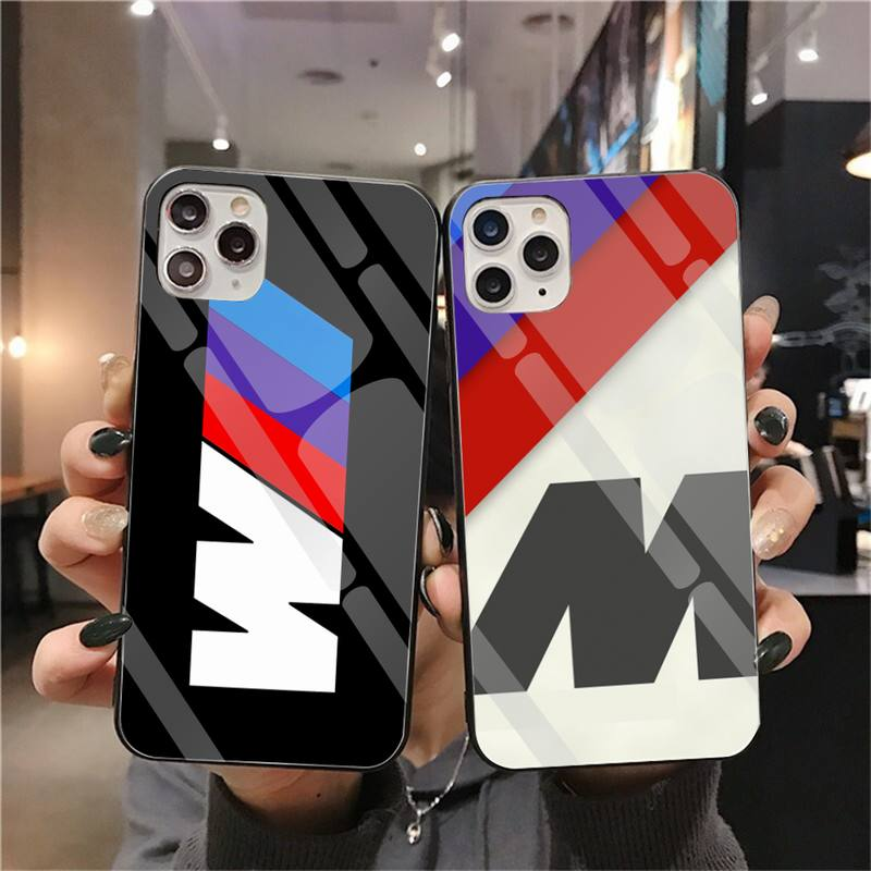 Blue Red Sport Car BMW Custom Photo Soft Phone Case Tempered Glass For iPhone 11 Pro XR XS MAX 8 X 7 6S 6 Plus SE 2020 case image