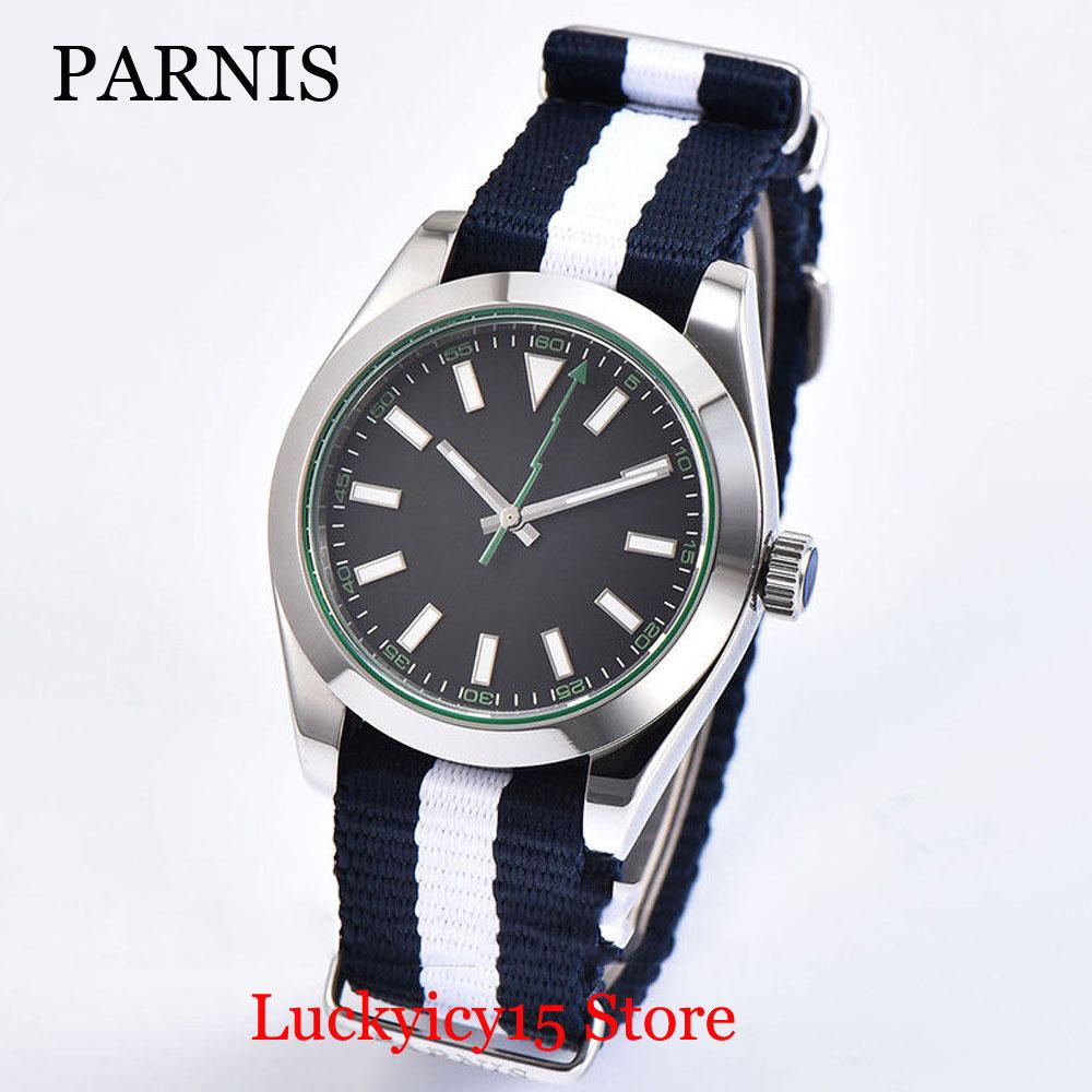 2 Models Fashion Automatic Men Watch 40mm Sapphire Glass Black/White Sterile Dial Flash Hand Polished Case Nylon Strap