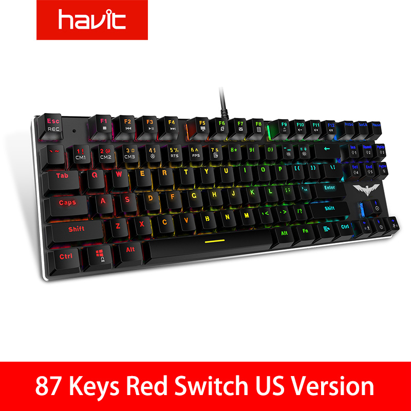 HAVIT Gaming Mechanical Keyboard 87/104 Keys USB Wired Keyboard Blue/Red Switch Backlit Keyboard US/Russian Version
