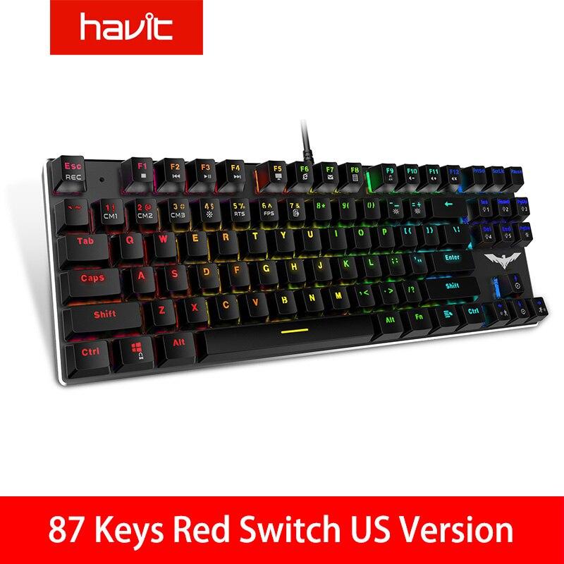 HAVIT Gaming Mechanical Keyboard 87/104 Keys USB Wired Keyboard Blue/Red Switch Backlit Keyboard US/Russian Version