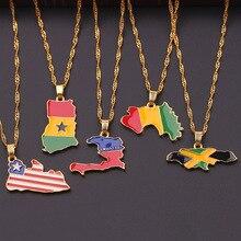 LEGENSTAR New Country Map Enamel Pendant Necklace Women Men Africa Guinea Ghana Liberia Undersea Hip-hop Gold Jewelry