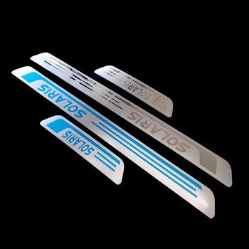 Para la etiqueta del coche Hyundai Solaris accesorios de acero de la puerta de protección del Pedal de estilo automático 2011 2012 2013 2014 2015 2016 2019 2020