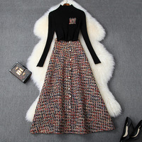 Women winter two piece set black knitted pullovers + a line long tweed skirts pearls single breasted plaid skirt suit 2019
