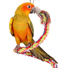 Chewing Bar Parrot Bird Perch Toy Spiral Cotton Rope Swing Climbing Standing Toys with Bell Bird Supplies 50cm(China)