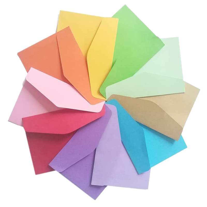 100 Pc Mini Envelopes 10 Colors Gift Card Envelopes for Personalize Gift Cards Wedding Envelopes or Place Card