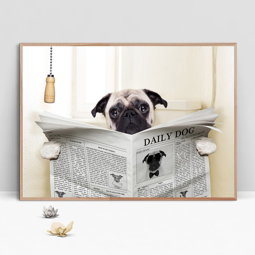 Bulldog Dog Canvas Art Poster Print Animal Nordic Funny Painting Modern Wall Pictures For Bathroom Decor