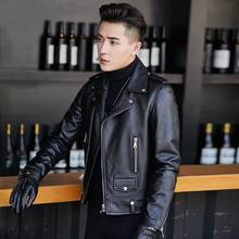 2020 New Men Winter Korea Style Real Leather Jacket Male Motorcycle Coat Warm Genuine Sheepskin Plus Size M-4xl Outwear D69(China)