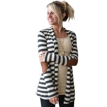 Elegant Design Women Autumn Winter Long Sleeve Cardigan Casual Stripe Pattern Lady Cotton Keep Warm Coat Cardigan