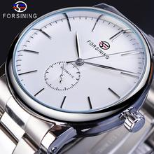 Forsining Classic Mens Watches Mechanical Automatic Man Watches Silver Stainless Steel Simple Business Design Relogio Masculino forsining white automatic mens watches calendar date relogio masculino luminous stainless steel band mechanical sport wristwatch