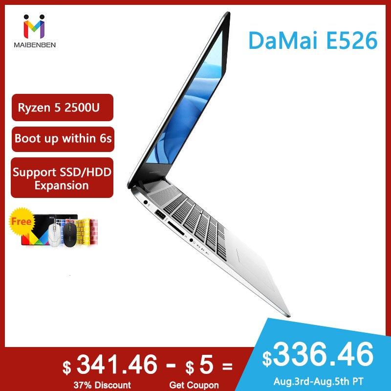 MAIBENBEN Ultra-thin Laptop DaMai E526 15.6 inch/ AMD Ryzen 5 2500U / 8G 16G RAM/240G/256G PCI-E/480G SSD/1TB HDD/Linux/Win10(China)