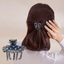 CHIMERA Vintage Blue Rhinestone Hair Claw Metal Pins Crab Clamp Trendy Women Jewelry Accessories Ladies Barrettes Hairgrip