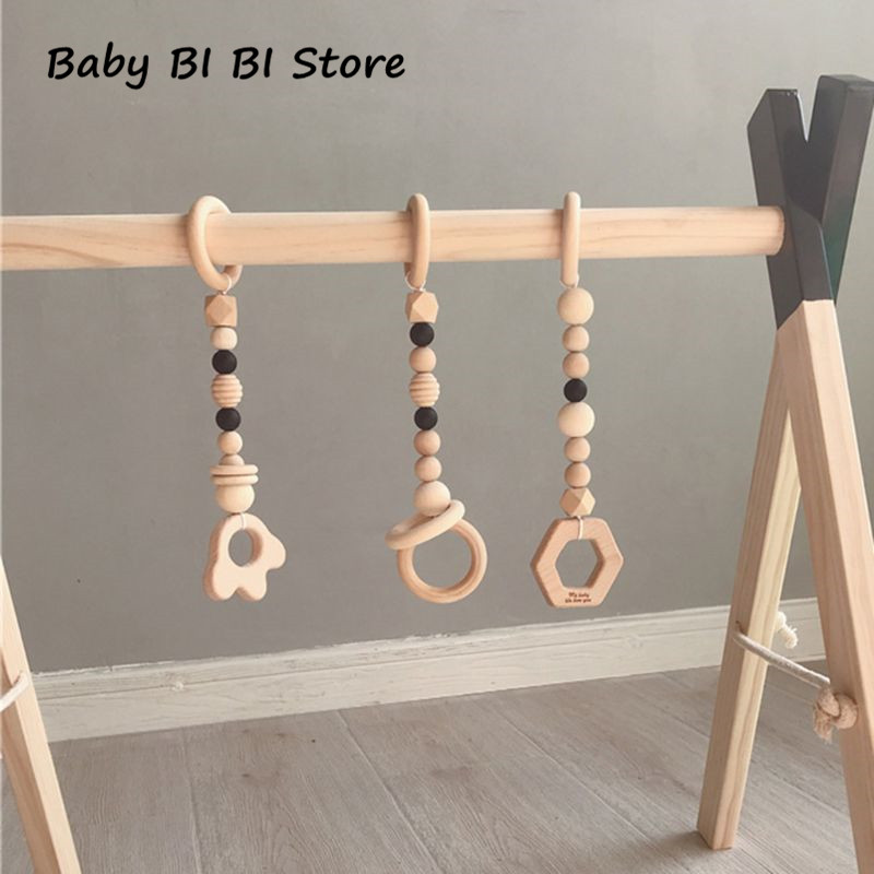 3 Pcs/set Nordic Style Cartoon Solid Wood Fitness Rack Pendant Children Room Decoration Baby Infants Ring-pull Toy Hanging Ornam