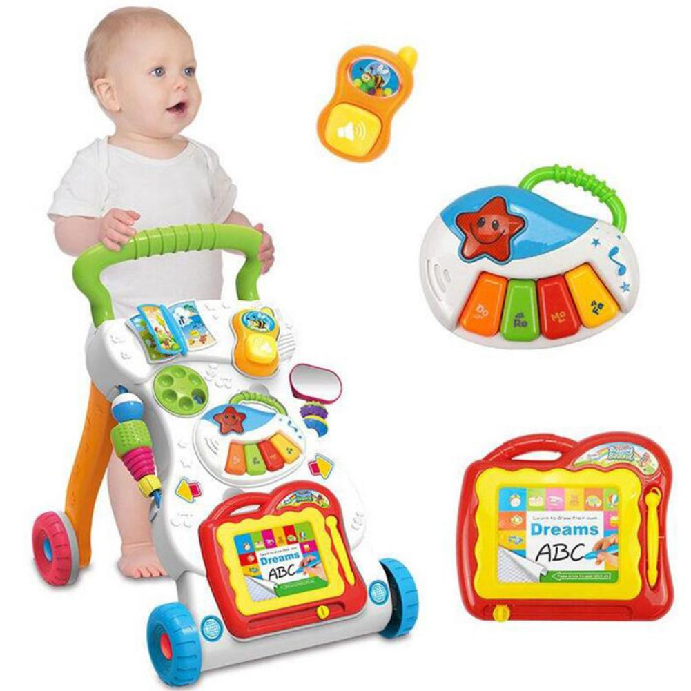 Multifunction Baby Walker Infant Stand-to-Sit Toddler Four Wheels Trolley Kids Learning Walking Toddler Toys Piano Drawing Gift