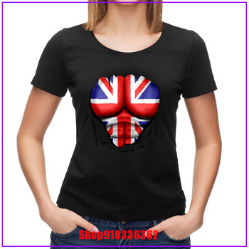 New Design women Tees UK Flag Ripped Muscles Six pack Chest T-shirt Short Sleeve Cotton Fabric T Shirts Unique - discount item  45% OFF Tops & Tees