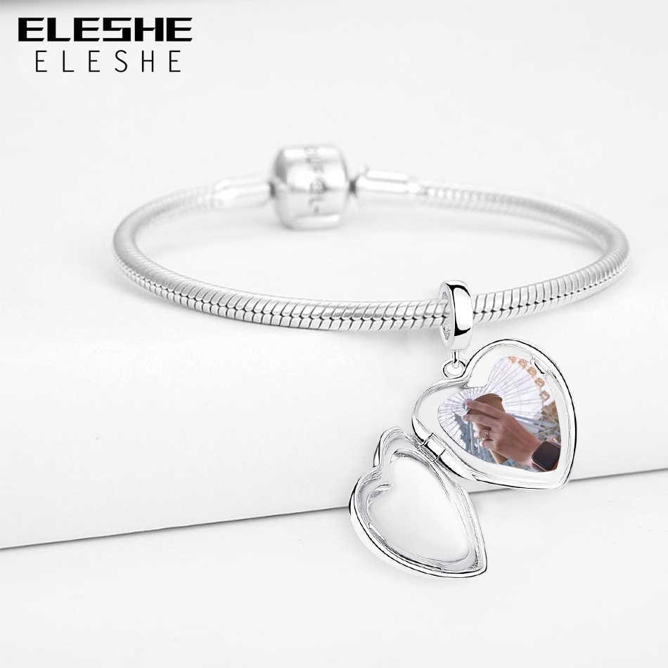 Браслет ELESHE из стерлингового серебра 925 пробы с подвеской из бисера, браслет Pandora, ожерелье DIY, кулон в виде сердца, персонализированные ювелирные изделия, подарок