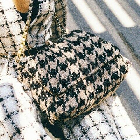 Feminina de lã Bolsa do Mensageiro Nova Moda Aleta Ombro Senhoras Houndstooth Corrente Bolsa Grande Capacidade Diamante Treliça Bolsas