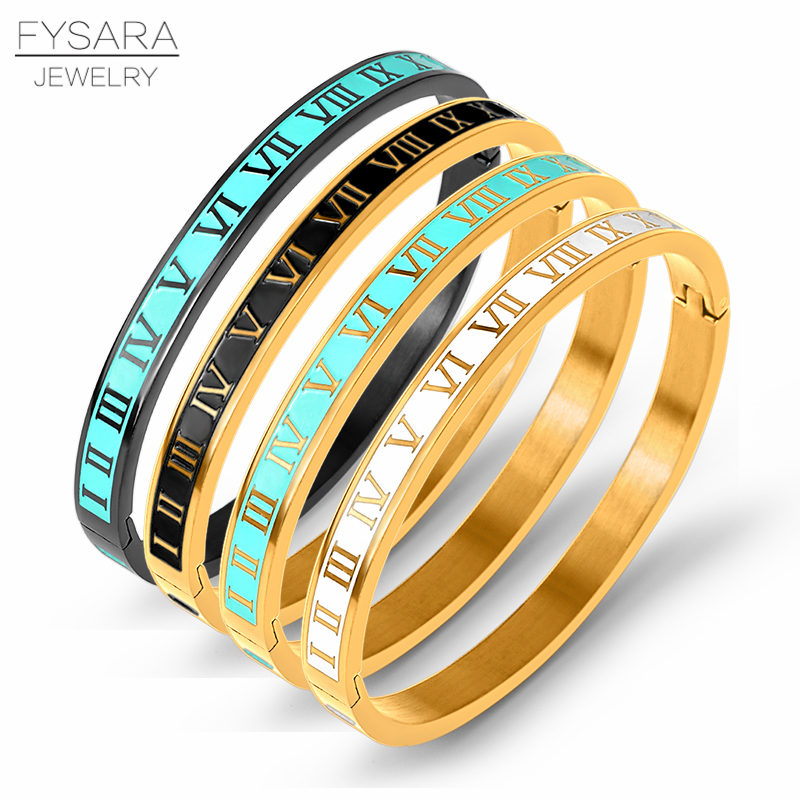 FYSARA Vintage Roman Letter Bangles & Bracelets For Women Black Gold Numeral Color Charm Cuff Bangles Stainless Steel Jewelry