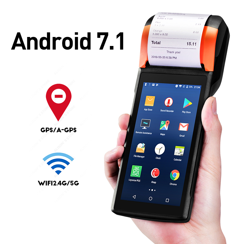 Sunmi V2 4G Android Handheld POS PDA Terminal With Bluetooth Thermal Receipt Bill Printer 58mm WIfi Mobile POS Devices GZPDA09