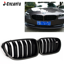 A pair Front Kidney Grille For BMW 5 series F10 F18 Double line/Single line bright black Grille Front Bumper Grill цена