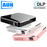 100% Original AUN MINI Projector X3, Mobile Phone Screen Mirroring, Wireless HD built in battery 3D Video Projector for 1080P