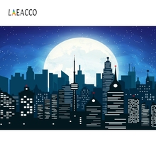 Laeacco Comic City Photophone Buildings Moon Star Photography Backgrounds Birthday Photozone Photo Backdrops For Studio