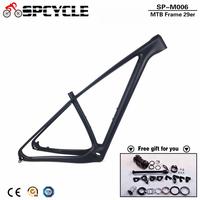 Spcycle 29er T1000 Carbon MTB Frame Ultralight 29er Mountain Bike Carbon Frame Compatible with 142*12mm Thru Axle And 135*9mm QR