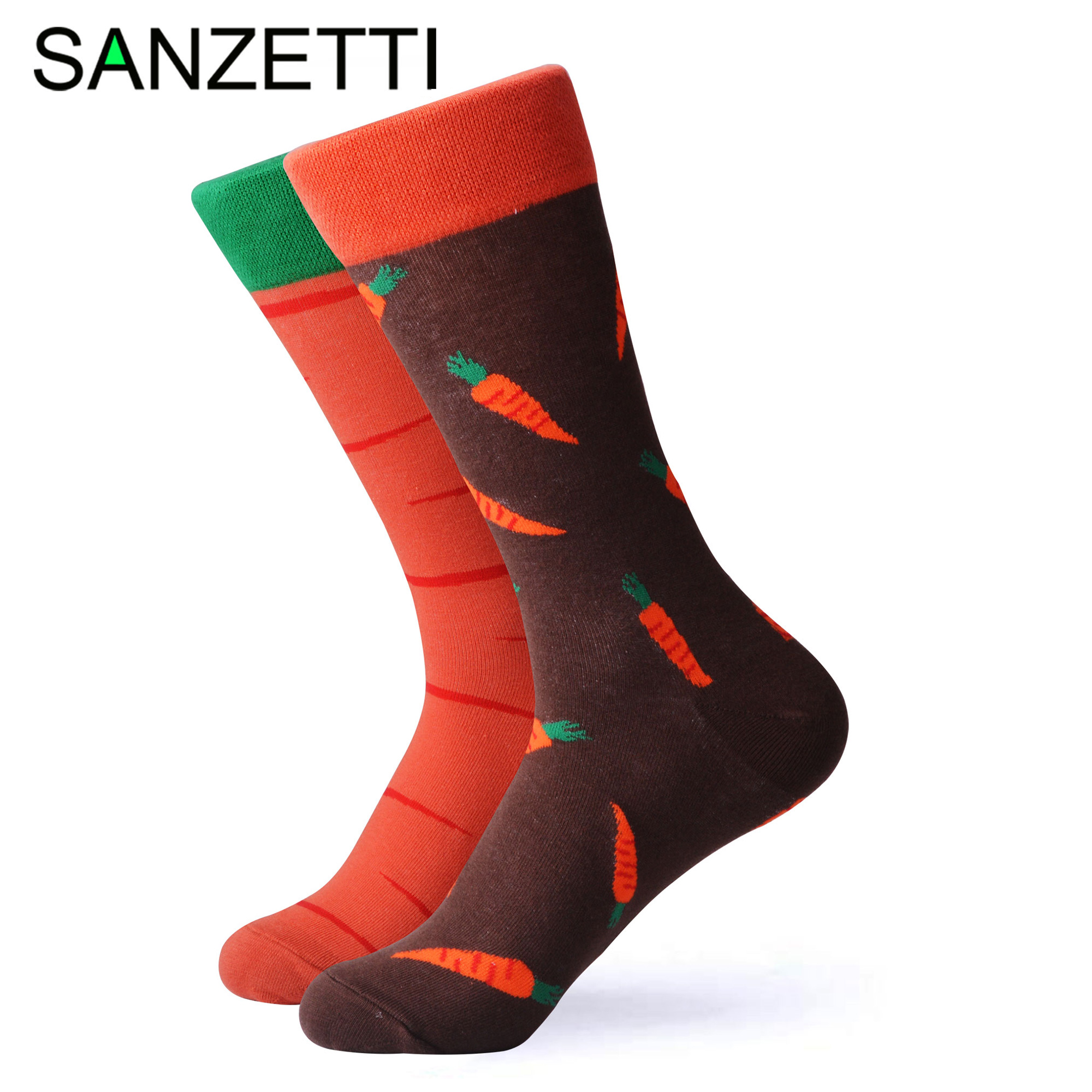 SANZETTI 1 Pair New Colorful Bright Women's Socks Novelty Cute Female Combed Cotton Party Wine Gifts Create Dress Happy Socks
