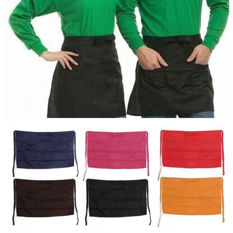 Media cintura corta de poliéster delantal mesera camarero con bolsillo cocina café Pub J6PD