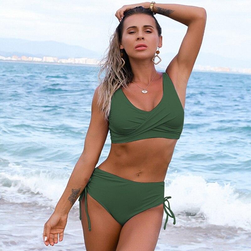 Solid Sexy Bikini 2021 Summer Swimsuit Women 2 Pieces High Waist Bikini Push Up Swimwear Tankini Swimsuits Bathing Suit Women 2