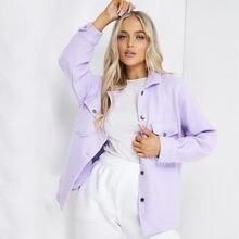 Фиолетовая демисезонная однотонная куртка рубашка пальто с карманами