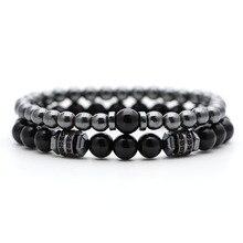 Бусины из природного камня мужские браслеты бренд Модный Циркон четки 8 мм DIY браслет для женщин ювелирные изделия подарки для пары