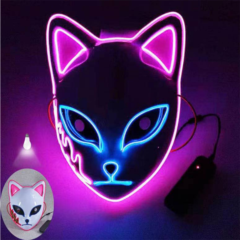 Demon Slayer Kamado Tanjirou Sabito Makomo Cosplay Mask Props Headwear Hannya Tengu Masks Halloween Party Costume Mascaras LED