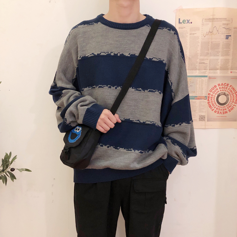 Striped Sweater Men's Warm Fashion Contrast Color Casual Knit Pullover Men Loose Knitting Sweaters Male Sweter Clothes