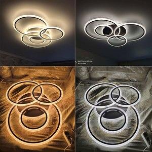 Image 5 - Montowane na powierzchni nowoczesny żyrandol Led do salonu sypialnia jadalnia kuchnia Lustre koła żyrandol sufitowy Led oświetlenie