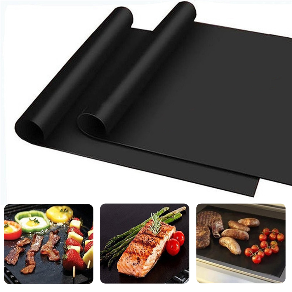 3Pcs Non-stick BBQ Grill Mat 40*33cm Baking Mat Teflon Cooking Grilling Sheet Heat Resistance Easily Cleaned Kitchen For Party