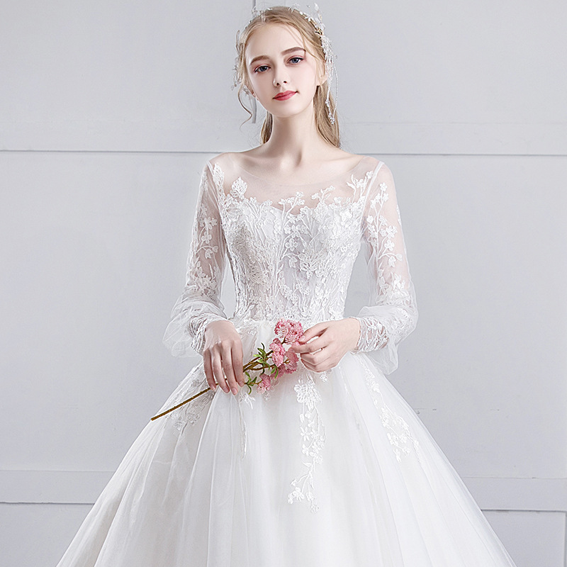 Celebrity Dress Light Wedding Dress 2020 New Bride Tail Dream Princess Simple And Neat Long Sleeve Female Winter