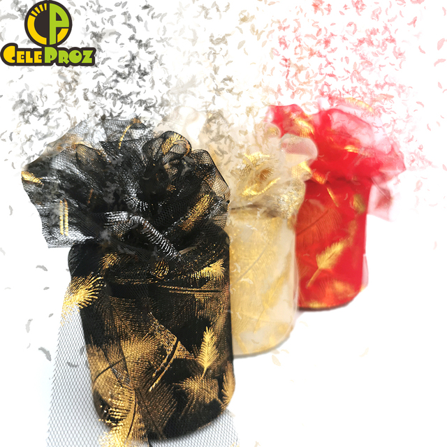 7.5cm 25yards Golden Feather Tulle Gilded Mesh Fabric DIY Sewing Crafts Hair Clip Pom Bowknot Baking Cake Topper Material Supply 4