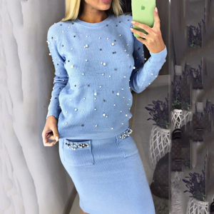 BONJEAN Winter Autumn Sweater Set for Women O Neck 2 Piece Sets Office Lady Knit Pullover Beading Elastic Waist Skirt Outfits