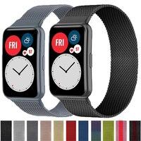 2021 Magnetische Lus Band Voor Huawei Horloge Fit Strap Rvs Magnetische Gesp Horlogeband Armband Voor Huawei Horloge Fit Strap