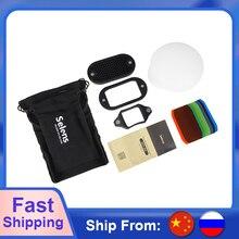 Selens kit de acessórios magnéticos para flash, filtros de 7 cores com grade de favo de mel, esfera modificado de iluminação por aperto