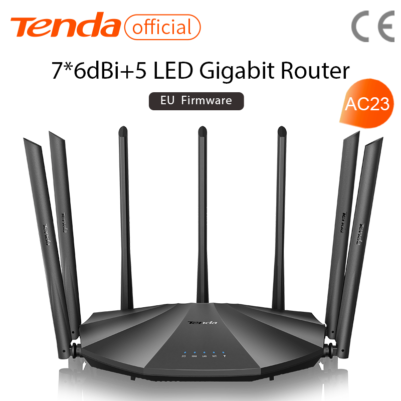 Tenda AC23 Gigabit Dual-Band AC2100 Wireless Router Wifi Repeater with 7*6dBi High Gain Antennas Wider Coverage, Easy setup 1